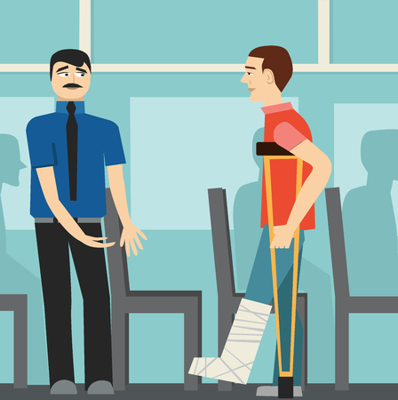 Good manners. The man on the bus gives way to disabled.etiquette.man on crutches.broken leg