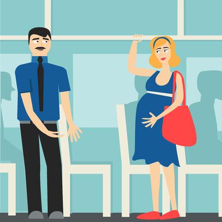 Buenos modales. El hombre en el autobús da el camino a la mujer embarazada. Ilustración de vector