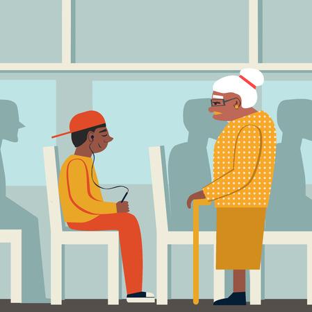 Manners.black mujer y negro boy.retired mujer en el bus.to dar paso a una anciana. Mujer cansada y joven con el jugador.