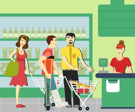 Good manners.man da paso a los discapacitados en el supermercado. Cajero del supermercado. La cola en la tienda
