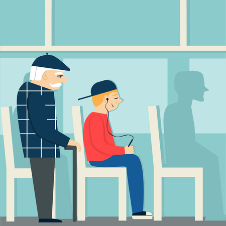 Good manners.retired man in the bus.to give way to an elderly person.tired man and young boy with player