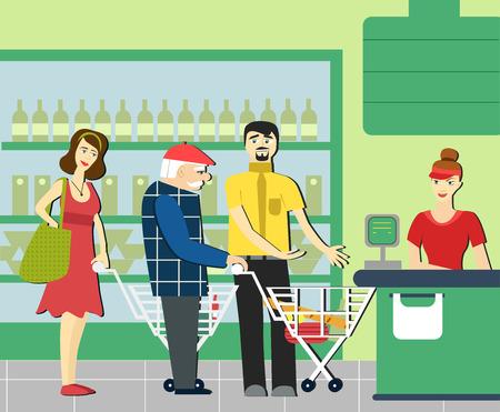 Goede manieren. Geschikte man in de supermarkt. Om plaats te maken voor een oudere persoon. Supermarkt kassier. De rij in de winkel.