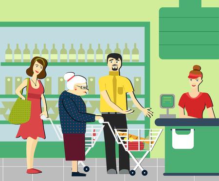 Le buone maniere. Donna ordinata nel supermercato. Per dare modo ad una persona anziana. Cassiere del supermercato. La coda al negozio