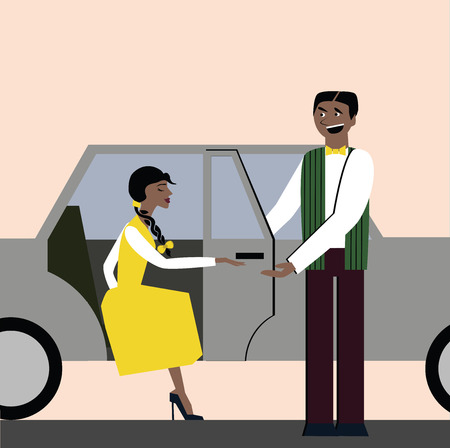 Good manners. Open the door for a woman in the car. Etiquette. Elegant woman.