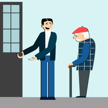 Good manners. Man open the door for old man.etiquette.polite man Illustration