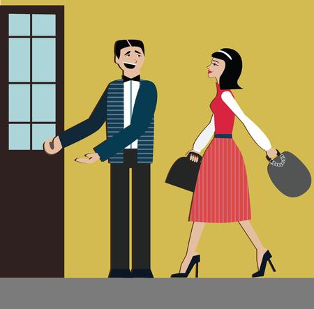 Bonnes manières. L'homme ouvre la porte à l'étiquette féminine. Decorum.shopping woman.elegant dress and hills.Chinese woman Banque d'images - 79632967
