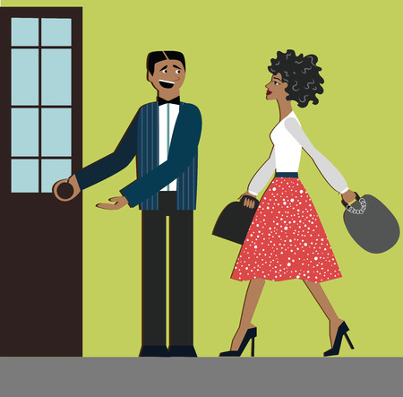 Good manners. Man open the door for woman. Etiquette, decorum, shopping woman, elegant dress and heels, African woman. Vectores