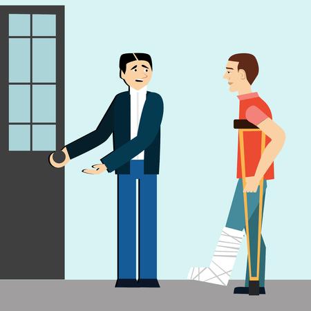 Ood manières. L'homme ouvre la porte à disabled.etiquette.man sur crutches.broken leg.polite man Banque d'images - 79631553
