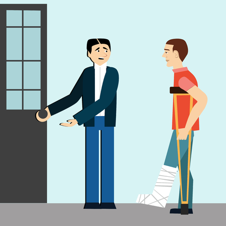Ood manners. Man open the door to disabled.etiquette.man on crutches.broken leg.polite man Illustration