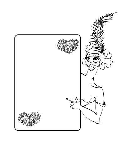 Vintage showgirl dancer with poster. Cabaret style, hand drawing illustration