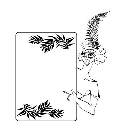 Vintage showgirl dancer with poster. Illustration