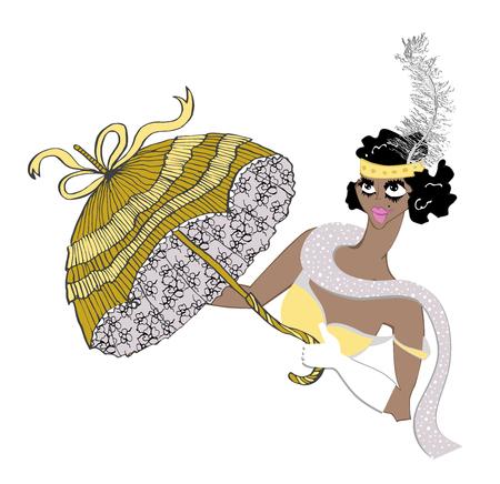 Vintage showgirl dancer with umbrella and dark skin. Cabaret style, hand drawing illustration Illustration