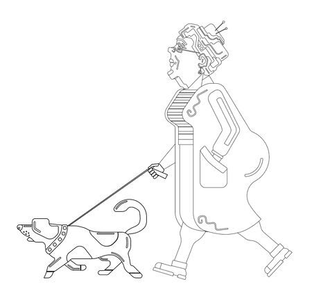 Old woman walks with dog on white background. Graceful grandma. Pensioner free time. Old woman in profile. An elderly woman with overweight. Pensioner live. Black silhouette old woman lines Illustration