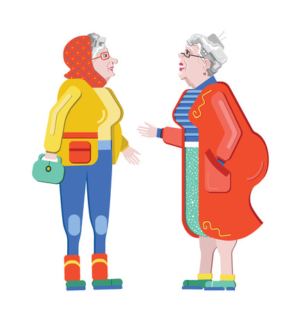 Friendship of old people. Old Girlfriends. Older woman talking on the street. Old women discuss retirement. Senior having fun. Illustration