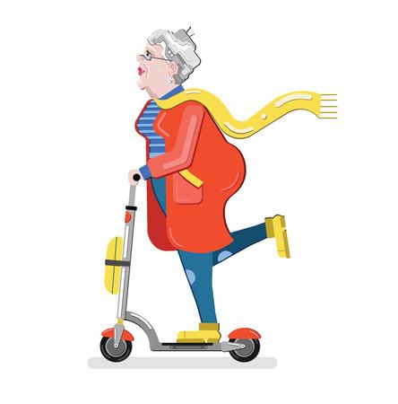 スクーターの老婆。祖母のシルエット。進歩的な老女。フラット スタイル モダンなベクトル イラスト白背景に分離されました。