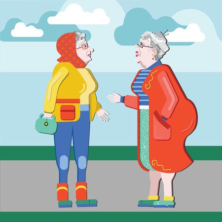 having fun: Friendship of old people. Old Girlfriends. Older woman talking on the street. Old women discuss retirement. Senior having fun. Illustration