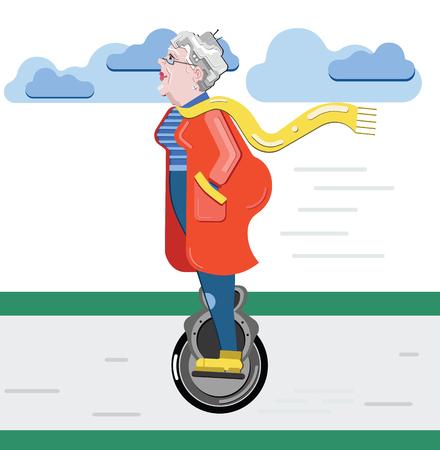 Silueta de la abuela Anciana en la moto. La vieja mujer progresista usa tecnología moderna mono-rueda.