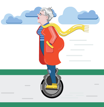 Grandmother silhouette. Old woman on the scooter. Old progressive woman use modern technology mono-wheel. Illustration