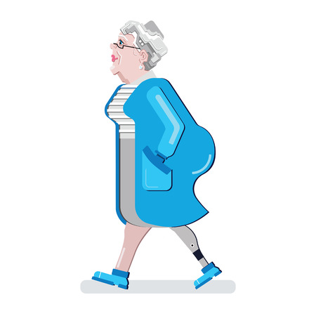 Senior disabled with Artificial limb. Prosthetic leg. Cartoon character vector illustration. Old woman in blue bathrobe