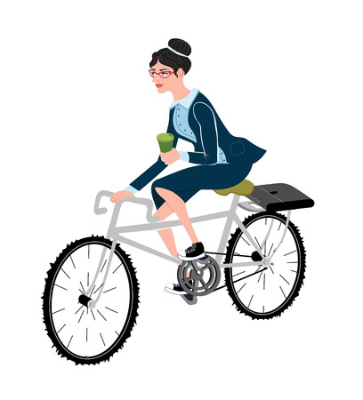 businessperson: Business woman with coffee ride a bike.Style business lady riding on a cruiser bicycle.Modern office workers using bicycle as an urban transport.Woman in formal suits riding bike