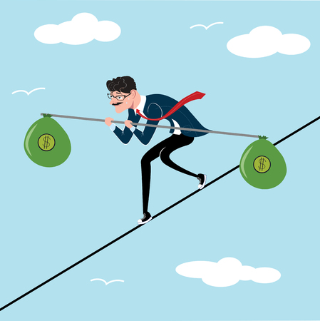 Businessman tightrope walker with a bag of money as a symbol of business risk and courage, brave step. Blue sky background. Unstable business. Office worker walking on line.