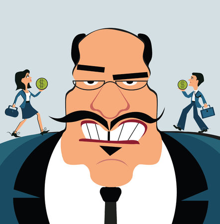Discrimination of workers. Boss control employees. Businessman marionette. Flat design vector style. Small workers bring money to the big boss Illustration