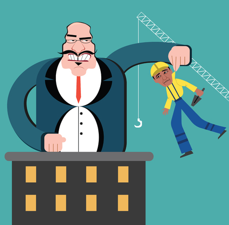 Discrimination of workers flat design vector style.  Boss control employees as a marionette or puppets.