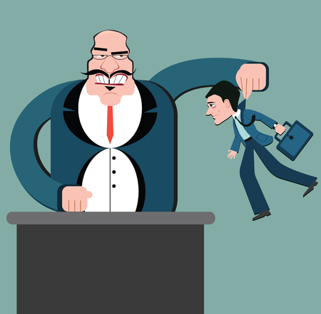 Discrimination of workers. Puppets business. Boss control employees. Businessman marionette. Flat design vector style. Holding man office worker.