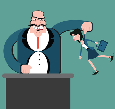Discrimination of workers. Puppets business. Boss control employees. Businessman marionette. Flat design vector style. Holding woman office worker.