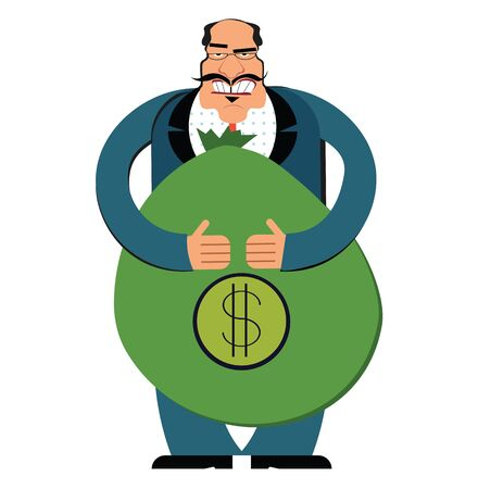 Rich businessman with a bag of dollars. Flat style modern vector illustration isolated on white background. Ilustração