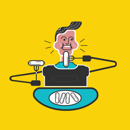 Kids manners. Good manners and etiquette. Eating a lot. Table manners. Boy with full mouth of food and eating sausage. Funny flat vector style. Иллюстрация