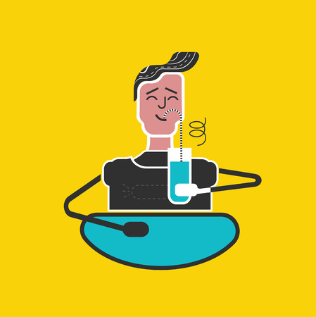 sipping: ?hildren manners. Good manners and etiquette. Slurping juice. Table manners. Boy drinks juice with pleasure. Funny flat vector style. Illustration