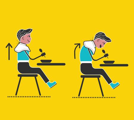? 祖母マナー。良いマナーとエチケット。正しい姿勢。机の前に座ってを修正します。フラット スタイルのベクトル図です。