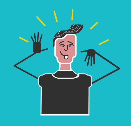 Good manners and etiquette. Boy making a faceGood manners and etiquette. Boy making a face. Bad manners. Funny flat vector style.face expressions.Boy teasing and show tongue Illustration