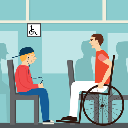 Seat for disabled.Good manners. Boy is sitting on the ground for the disabled.etiquette.man in a wheelchair.