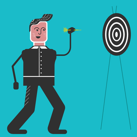 dart board: Man with dart plays in Darts. Man with arrow on the blue background.Flat design sport concept.Illustration for darts tournament