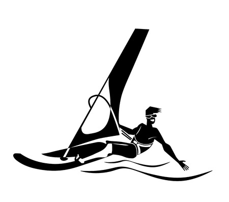 Summer water beach sports, activities. Board with a sail, wet suit. Illustration