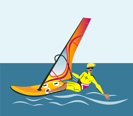 water s: Summer water beach sports, activities. Board with a sail, wet suit. Illustration