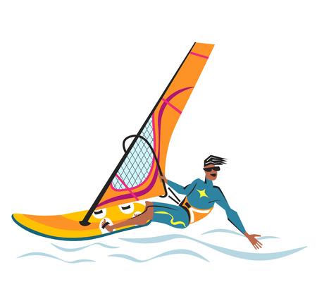 Summer water beach sports, activities. Orange board with a sail, wet suit.