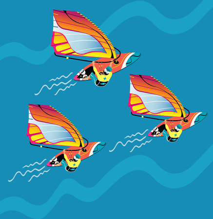 Water active recreation. Windsurfing character with surfboard and riding on ocean wave. Recreational beach. People on surfing vacation. Illustration