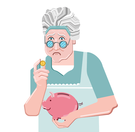 Piggy bank simple vector illustration in flat line work style. Sad senior woman holding a golden piggy bank. Pension.