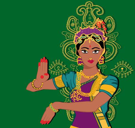 Indian girl portrait.hand with lotus.Mehndi.Puranas.Sanskrit.Sari  イラスト・ベクター素材