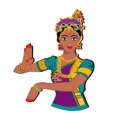 Indian girl portrait.hand with lotus.Mehndi.Puranas.Sanskrit.Sari Illustration