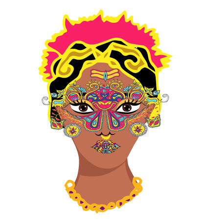 Indian girl portrait.Mehndi.Puranas.Sanskrit.Sari and face with mask