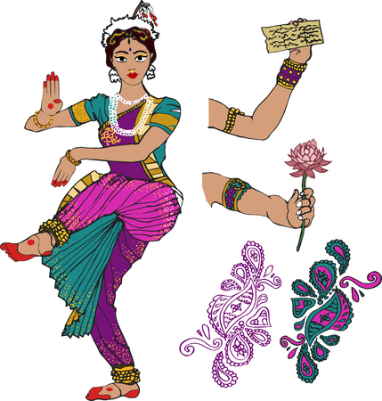 Indian girl.dancer.hand with lotus.Mehndi.Puranas.Sanskrit.Sari Illustration