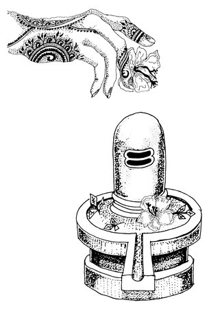 shiva. lingam shiva.hand drawn illustration.