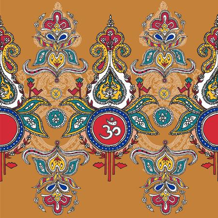 Indian ashram background. Symbol lord shiva om.pattern. Hindu god pattern. Indian design. Buddist hand drawn