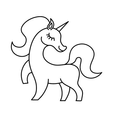 Vector unicorn line silhouette. Inspirational illustration design for print, banner, poster.Hand drawn Vector illustration. Unicorn logo isolated on white. Magic animal with stylish mane