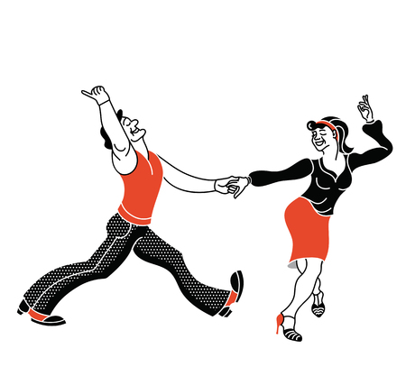 Dancing seniors. Happy old people have fun. Active pensioners.Retro red color.Couple silhouettes dancing swing, rock or lindy hop. Simple print Illustration