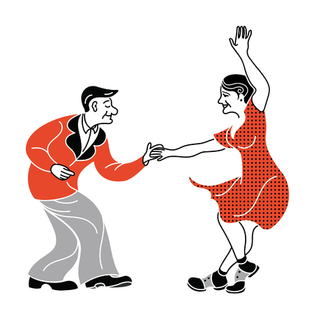 Dancing seniors. Happy old people have fun. Active pensioners.Retro red color.Couple silhouettes dancing swing, rock or lindy hop. Simple print. Polka dot dress. Fashion retro shoes